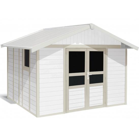 Caseta de jardín Basic Home 11m² blanco - gris verde