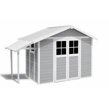 Caseta de jardín Déco Lodge 7,5 m² claro con alero