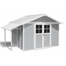 Caseta de jardín Déco Lodge 11 m² claro con alero