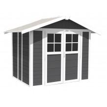 Caseta de jardín Déco 4,9 m² PMMA gris oscuro