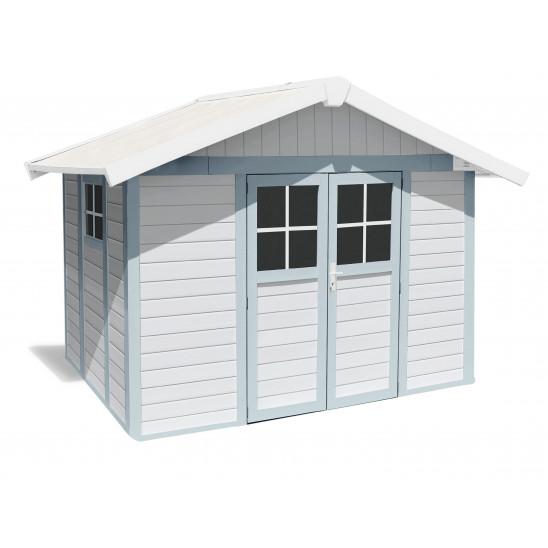 Caseta de jardín Déco 7,5m² blanco - gris - azul