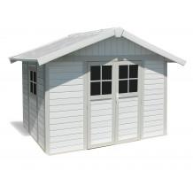 Caseta de jardín Déco 7,5m² blanco - gris - verde