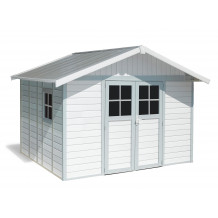 Caseta de jardín Déco 11m² blanco - gris - azul