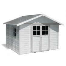 Caseta de jardín Déco 11m² blanco - gris - verde